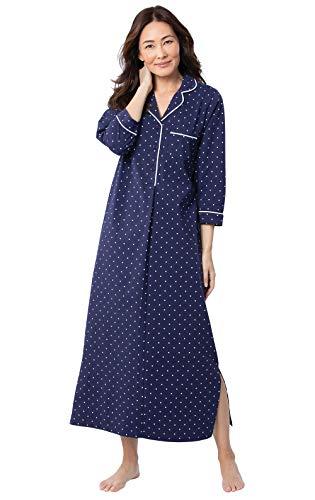 PajamaGram Women's Nightgown Cotton Soft - Women's Night Gown, Navy, M, 10-12