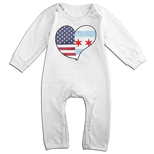 TYLER DEAN Newborn Kids Long Sleeved Coveralls USA Chicago Flag Heart Toddler Jumpsuit White]()