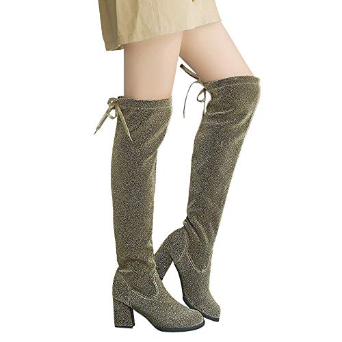 - Gyoume Long Boots Women High Heel Boots Keen Length Boots Shoes Winter Lace Up Boots Shoes Xmas