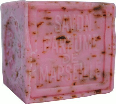 Savon de Marseille (Marseilles Soap) - Rose Petal Soap Exfoliating Cube 300g - Handcrafted Pure French milled Soap with Crushed Provençal Flowers