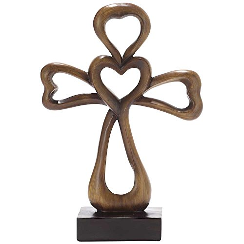(Dicksons Open Heart Carved Brown Woodgrain 12 Inch Resin Tabletop Cross)