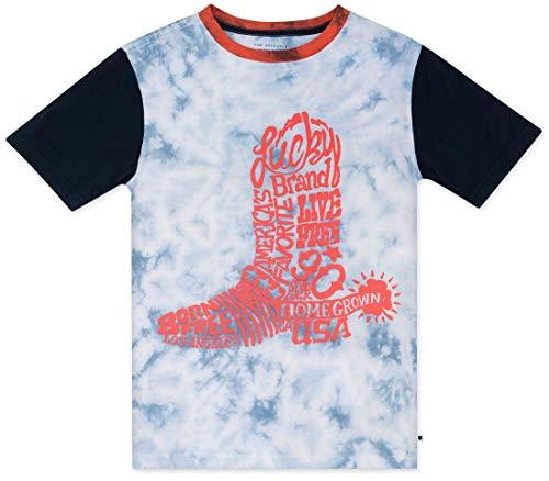 Lucky Brand Big Boys' Short Sleeve Graphic Tee Shirt, Boot Cashmere Blue tie - Short Sleeve Cashmere Tee