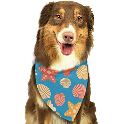 ROCKSKY Cute Puppy and Pet Bandanas, Starfish Corals Scallops Shells, Triangle Wedding Dog Bandana Bibs Scarf Fashion Kerchief Neckerchief Suit for Kids Baby Girl Boy Dog -