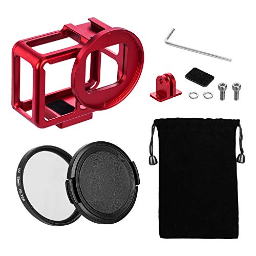 - TELESIN Aluminum Protective Case Hollow Frame Housing for GoPro Hero 7 Black Hero 6 Hero5, with 52mm UV Filter and Backdoor, Good GPS/Wi-Fi Signal Receiving, HDMI Type-C Port Supported (Red)