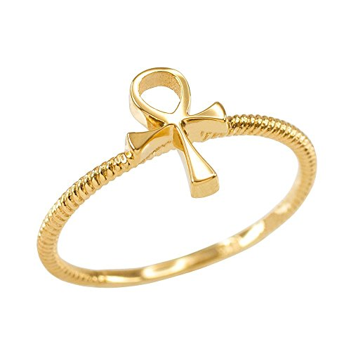Dainty 10k Yellow Gold Egyptian Ankh Cross Ring (Size - Ring Gold Ankh