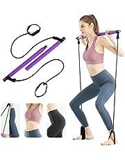 Surplex Bodybuilding yoga pilatessticka med fotögla, pilates barkit med motståndsband, bärbar yoga pilates stick träningsbar, idealisk för hemmet total kroppsträning, gym, tyngdlyftning