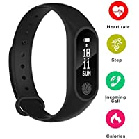 Buddymate RT3 Sweat Free Digital Smart Fitness Wrist Band with Heart Rate Sensor/Pedometer Activity Tracker Bracelet for All iOS,Android & Windows Device (Random Colour)