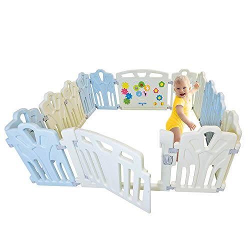 Baby Playpen Kids Activity Center – 14 Panel Safety Play Yard Area – Indoor, Outdoor Portable Fence Adjustable, Non-Toxic, Multi-Color Home Play Zone Lock System Gate Door Kid, Child, Infant