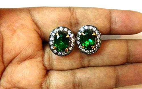 Solitaire Style Prong Setting Lab Emerald & Diamond 925 Sterling Silver Stud Earrings Christmas Birthday Women Gift Jewelry