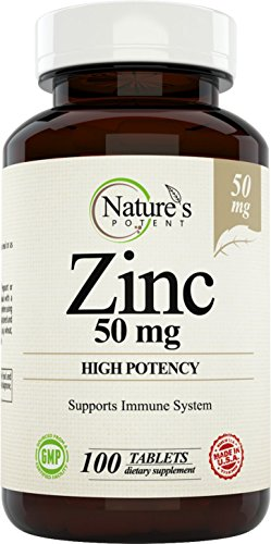 Zinc, 50 mg (High Potency) 100 Tablets, Immune System Support: Supplement for Men and Women, Natural Zinc from (oxide / citrate) Made by Nature's Potent