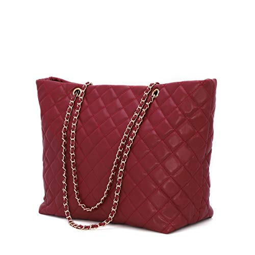 Women's PU Leather Shoulder Bag Purse Quilted Handbags Large Capacity Work Tote for Ladies with Chain Strap (Wine Red)