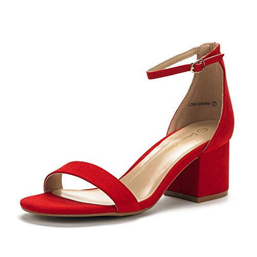 (DREAM PAIRS Women's Low-Chunk Red Suede Low Heel Pump Sandals - 10 M US)