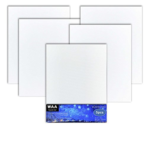 16 x 20 inch Acid Free Artist Stretched Canvas, Luxury Made Affordable! 100% Cotton Triple Titanium Acrylic Primed, Pack of 5, By World Ancient Arts by World Ancient Arts