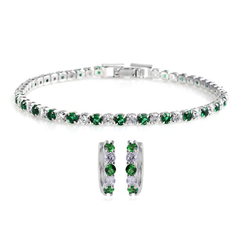 (Silvertone Cubic Zirconia CZ Round Created Emerald Hoops Hoop Earrings Tennis Bracelet 7