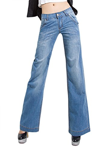AvaCostume Women's Classic Denim Wide Leg Palazzo Jeans Trousers, M, Lightblue -