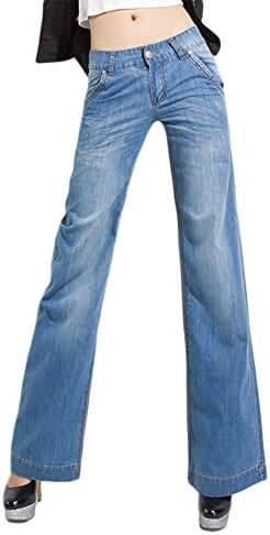 AvaCostume Women's Classic Denim Wide Leg Palazzo Jeans Trousers