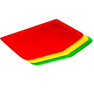 Chop Keeper Chopping Tray with Raised Sides and Easy-Guide Funnel, Red, Green and Yellow, 3-Pack - Argee RG909/3