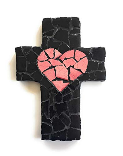 Mexican Tile Talavera Wall Cross 9 inch X 6 inch Handcrafted Mosaic Pink Heart and Black Mexican Ceramic tile,