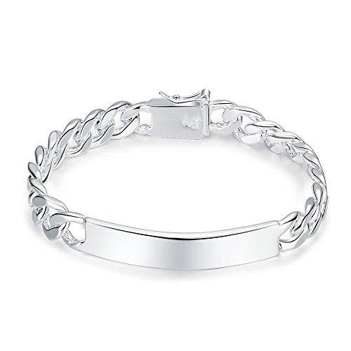 Plated Unisex Bracelets - 925 Sterling silver plated 10MM unisex women Men's charm Chain bracelet jewelry