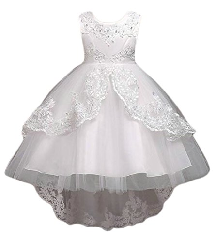 Cruiize Girls Vintage Solid Color Lace Splice Crewneck Sleeveless Tutu Dress White 4 by Cruiize
