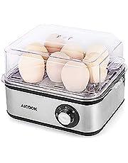Cocedor de Huevos Eléctrico, Hervidor de Huevos Eléctrico con Capacidad de 1-8 Huevos, Acero Inoxidable para Huevos Suaves, Medianos, Duros, 500W, Apagado Automático, Plata