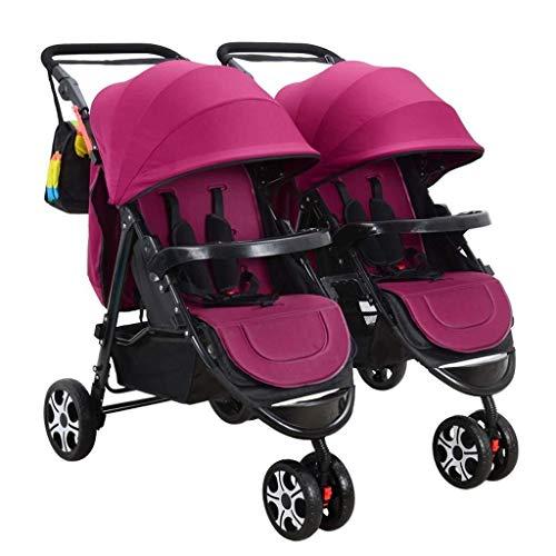 TZZ Double Baby Stroller, Jogging Stroller, Twin Tandem Umbrella Stroller with Adjustable Backrest, Footrest, 5 Points Safety Belts, Foldable Design for Newborn and Toddler (Color : Red Wine)
