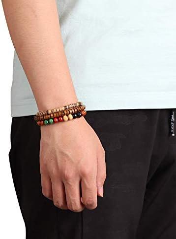 YADOKA 18-32 Pcs Cuir Bracelet Tribal Perles pour Hommes Femmes Charme National Main Tricot Boho Chanvre Bois Perl/é Cha/îne Bracelets