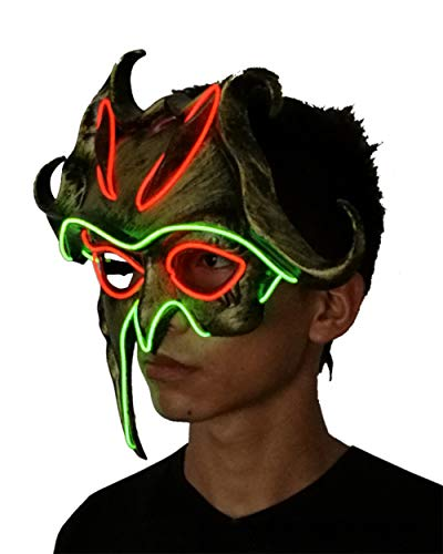Halloween LED Cosplay Mask,Glow Scary Mask Light Up,Sun God Mask (Shown) -