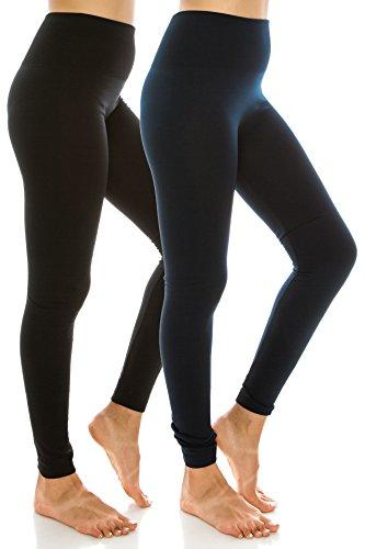 High Waist Fleece Lined Leggings Womens Leggings Plus Size Work Out 2PK Black Navy OS by EttelLut