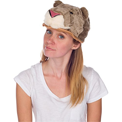 Cougar Costume (Rittle Furry Cougar Animal Hat, Realistic Plush Costume Headwear - One Size)
