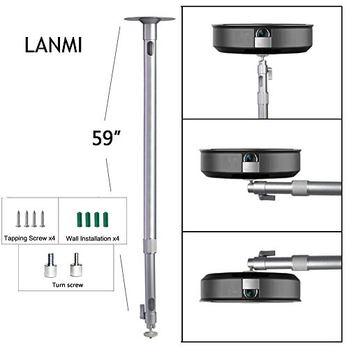 Universal Mini Projector Mount,LANMI Angle Adjustable Projection Drop Ceiling Projector Mount Length 1500mm/59in Loading 6.6lbs with 360 Degrees Rotatable Heads for Projectors CCTV DVR Cameras Silver