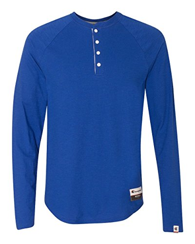 Champion Men's Authentic Originals Long Sleeve Henley, Athletic Royal, Large