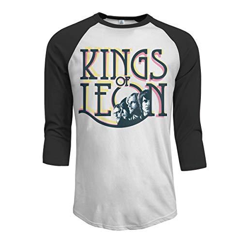 JeremiahR Kings of Leon Men's 3/4 Sleeve Raglan Baseball Tshirt Black M