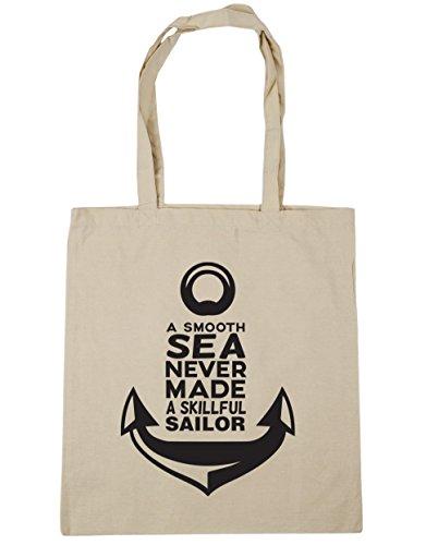 HippoWarehouse a Smooth Sea Never Made A skillful sailor bolsa de la compra bolsa de playa 42cm x38cm, 10litros Natural