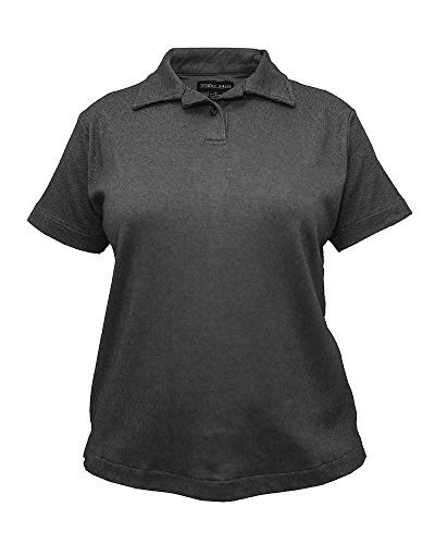 - Tiger Hill Ladies Companion Birdseye Golf Polo Shirt (Charcoal Black, Large)