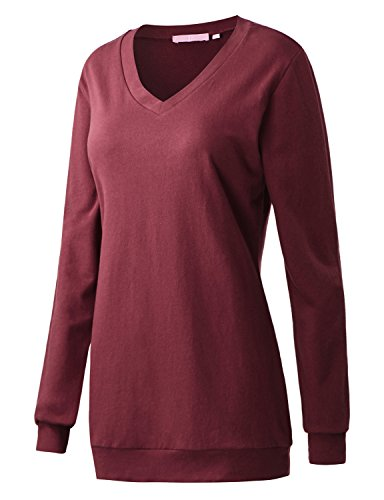 Regna X Boho for Women's Long Sleeve Tunics Wine Small v-Neck Tunic Pullover Sweats Sweatshirts