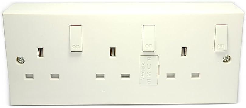 3 Grupo Pared Enchufes Con Individual Switches y Espalda Caja Convertidor: Amazon.es: Bricolaje y herramientas