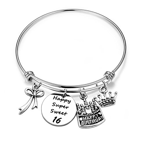 ENSIANTH Birthday Gift for Her Adjustable Birthday Bracelet Bangle with Birthday Cake Charm,12th Sweet 16th 18th 21st 30th 39th 40th Bangle Gift, (16th Birthday)