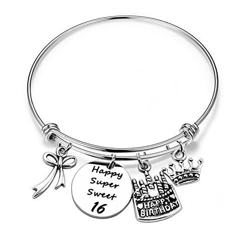 ENSIANTH Birthday Gift for Her Adjustable Birthday Bracelet Bangle with Birthday Cake Charm,12th Sweet 16th 18th 21st 30th 39th 40th Bangle Gift, (16th -