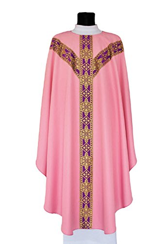Rose Semi-Gothic-Style Chasuble. Gorgeous Y Cross Orphery, Trimmed in Elegant Gold Piping.