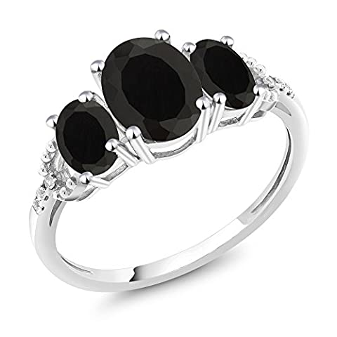 10K White Gold Diamond Accent Three-Stone Engagement Ring set with 2.08 Ct Oval Black Onyx (Oval Cut Black Onyx Ring)