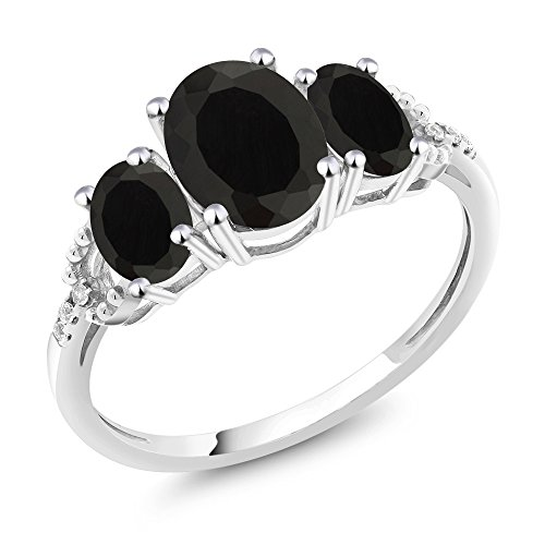 (Gem Stone King 10K White Gold Black Onyx and Diamond Accent 3-Stone Women's Engagement Ring 2.08 Ctw (Size 7))