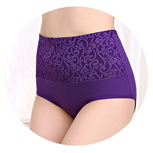 New Panties Women Underwear High Waist Cotton Briefs Plus Calcinhas Sexy Underwear Short Panties,Purple,XL -