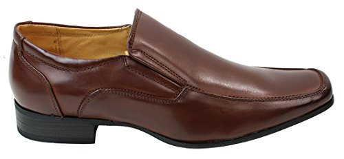Mens Slip On Shoes inteligente Formal de cuero marrón forrado Redondos ancha del dedo del pie marrón