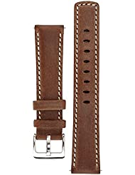 Signature Traveller 20 mm Coffee with white watch band. Replacement watch strap. Genuine leather. Silver Buckle