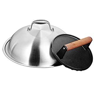 HOMENOTE Griddle Accessories Kit - 12 Inch Heavy Duty Round Basting Cover Cheese Melting Dome with 7 inch Round Cast Iron Burger Bacon Press - Perfect for Flat Top Griddle Grill Cooking