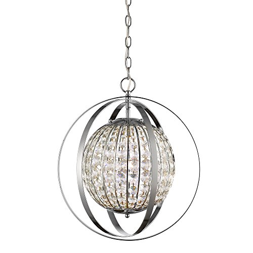 Acclaim Lighting IN11096PN Olivia Indoor 1-Light Pendant with Crystal, Polished Nickel