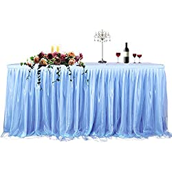 CO-AVE 6FT Baby Blue Table Skirt for Round or Rectangle Tables Dessert Tutu Table Skirting for Wedding Baby Shower Birthday Party Decorate(L72inchH30inch)