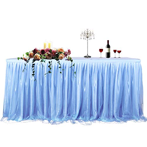 CO-AVE 14ft Blue Table Skirt for Round or Rectangle Tables Dessert Tutu Table Skirt for Festival Decorations Wedding Baby Shower Birthday Party Decorate(L167inchH30inch)