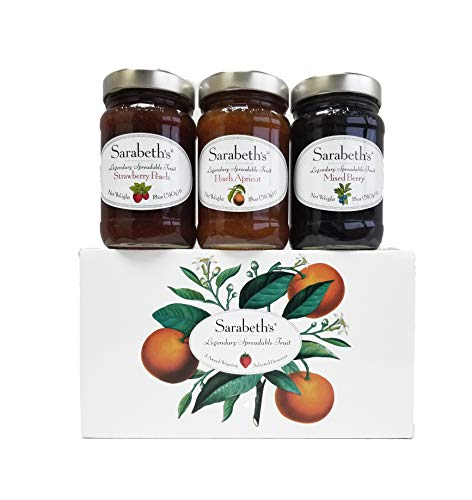 Sarabeth's Legendary Spreadable Fruit - 3 Jar Gift Pack - Peach-Apricot, Mixed Berry and Strawberry - Berries Fruit Preserve Mixed